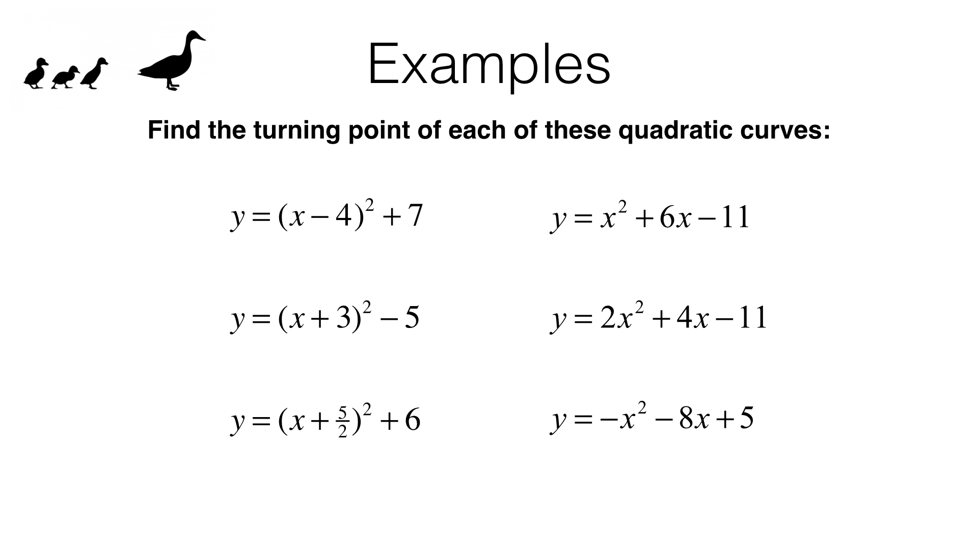 A11b Identifying Turning Points Of Quadratic Functions By