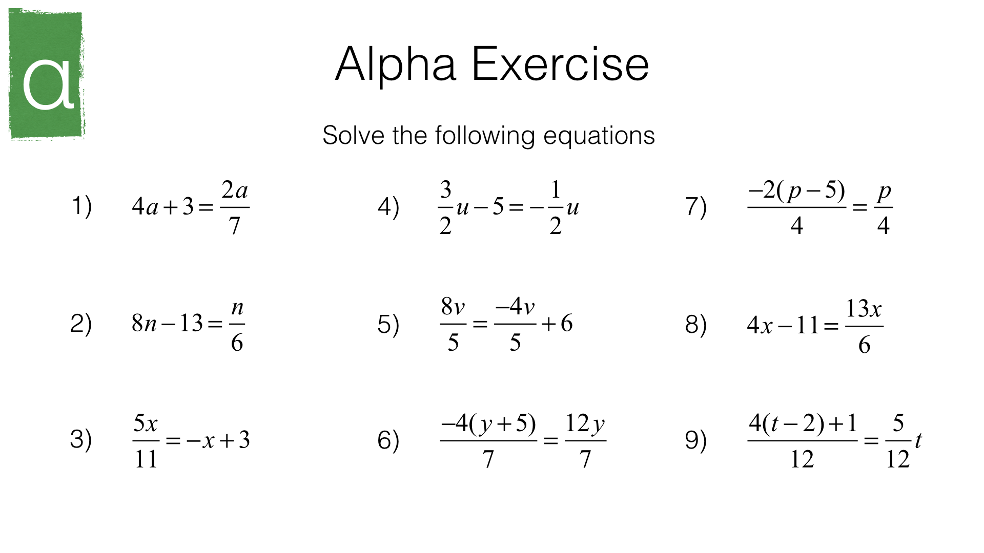 A23b – Solving linear equations in one unknown algebraically where Throughout Solving Linear Equations Worksheet Pdf
