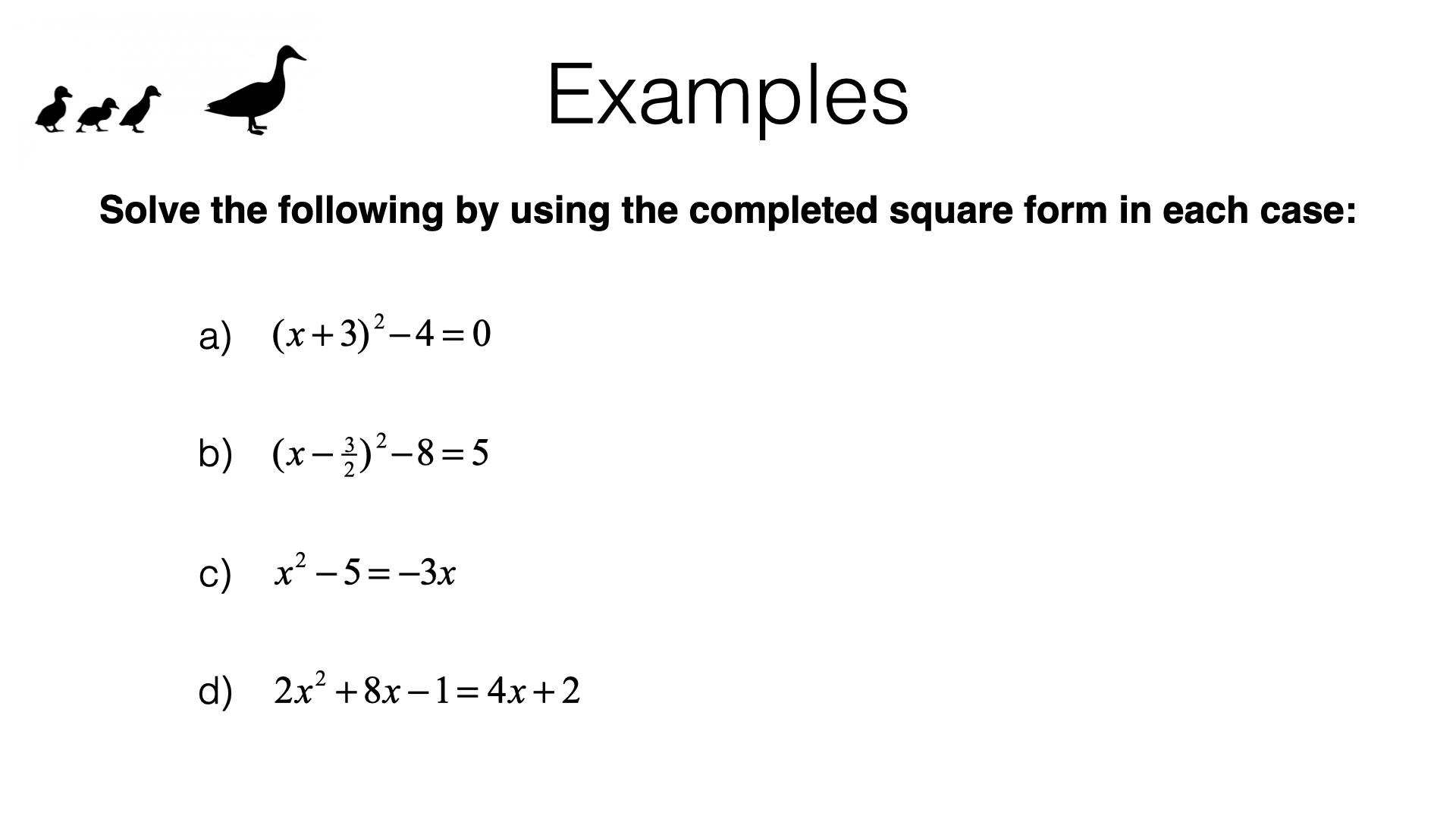 A18b Solving Quadratic Equations By Completing The Square