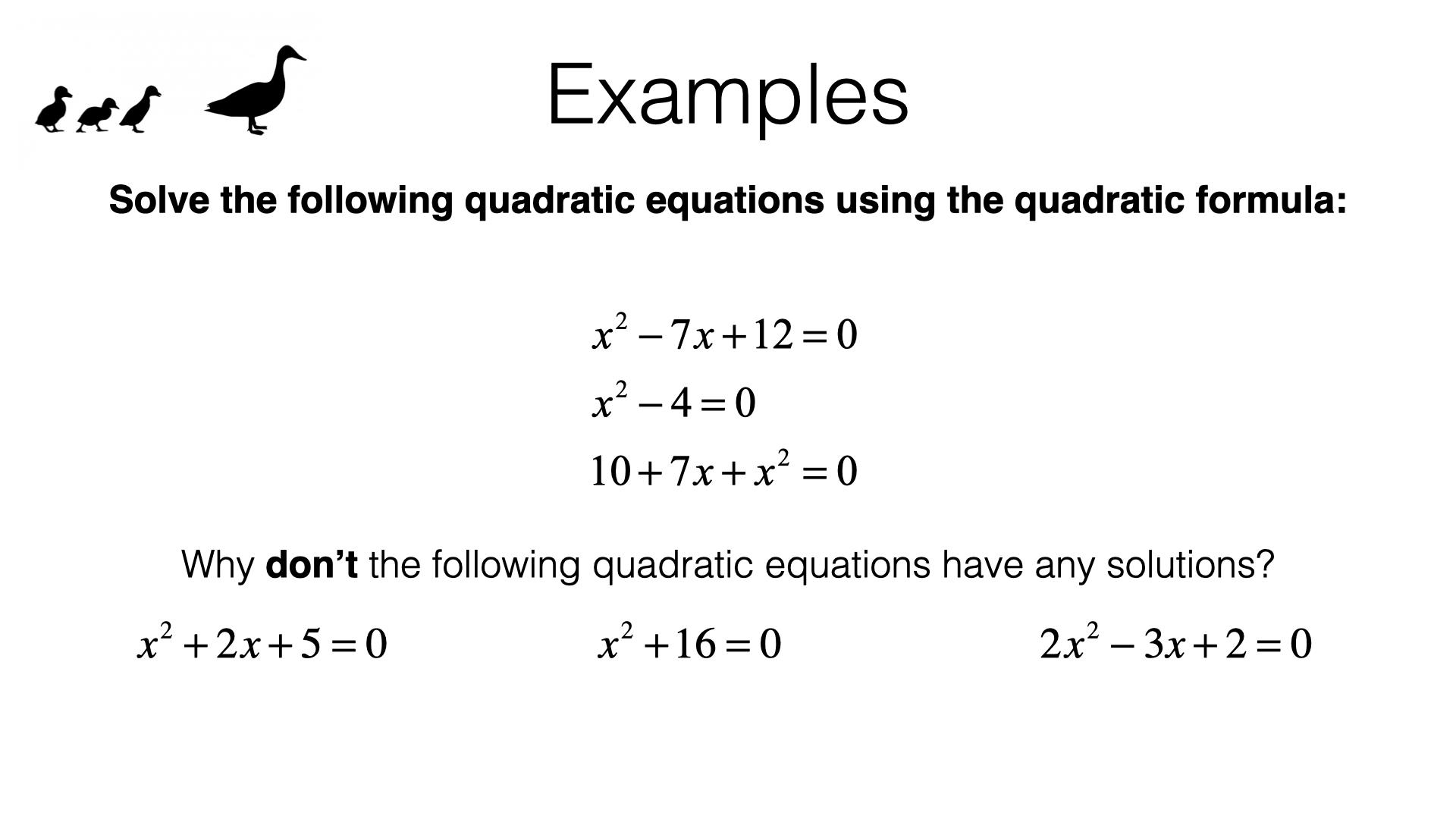 a18c solving quadratic equations using the quadratic formula