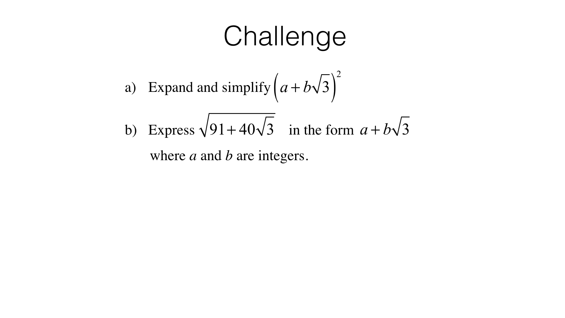 A4h Algebraic Manipulation Involving Surds And Fractions