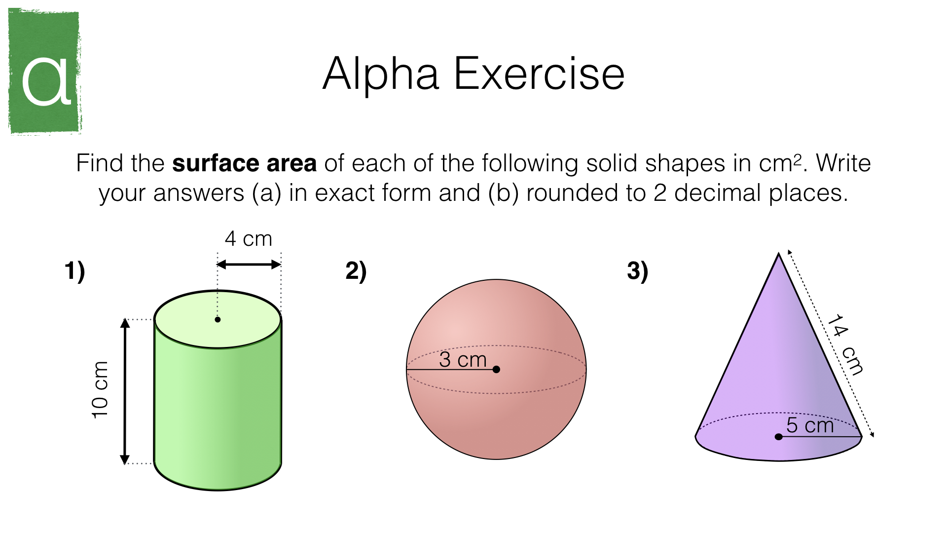 G17h Surface Area Of Cylinders Spheres And Cones Bossmaths Com