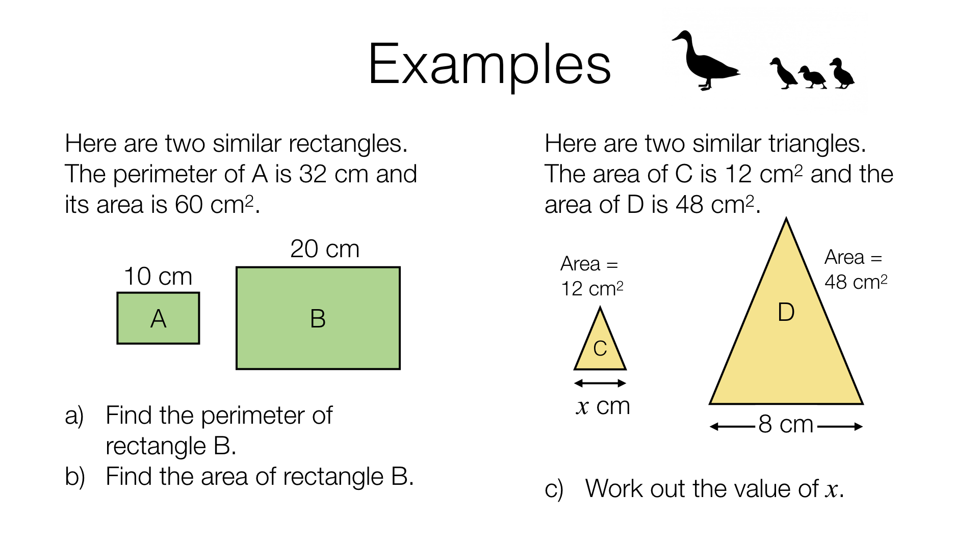 G24a – Lengths, areas and volumes in similar shapes – BossMaths.com For Similar Figures Worksheet Answers