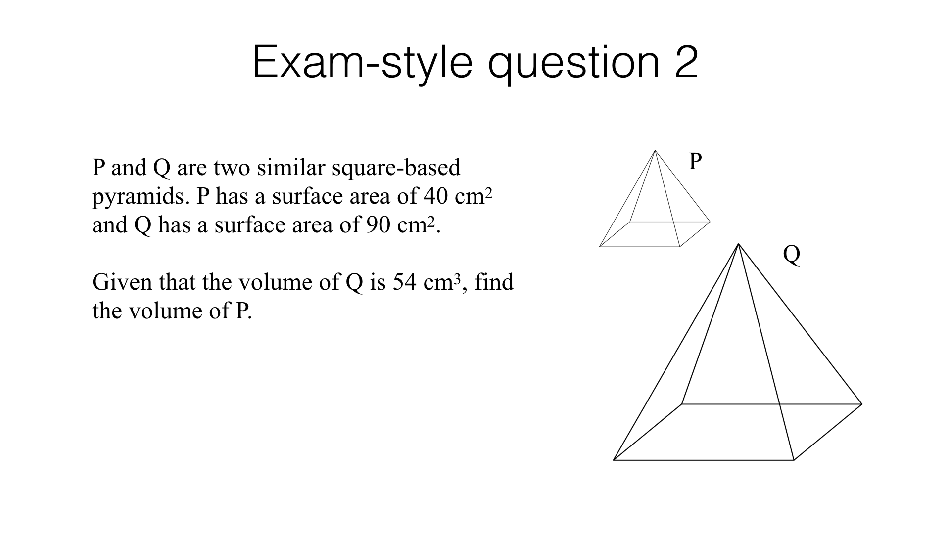 G24a – Lengths, areas and volumes in similar shapes – BossMaths.com Within Similar Figures Worksheet Answers