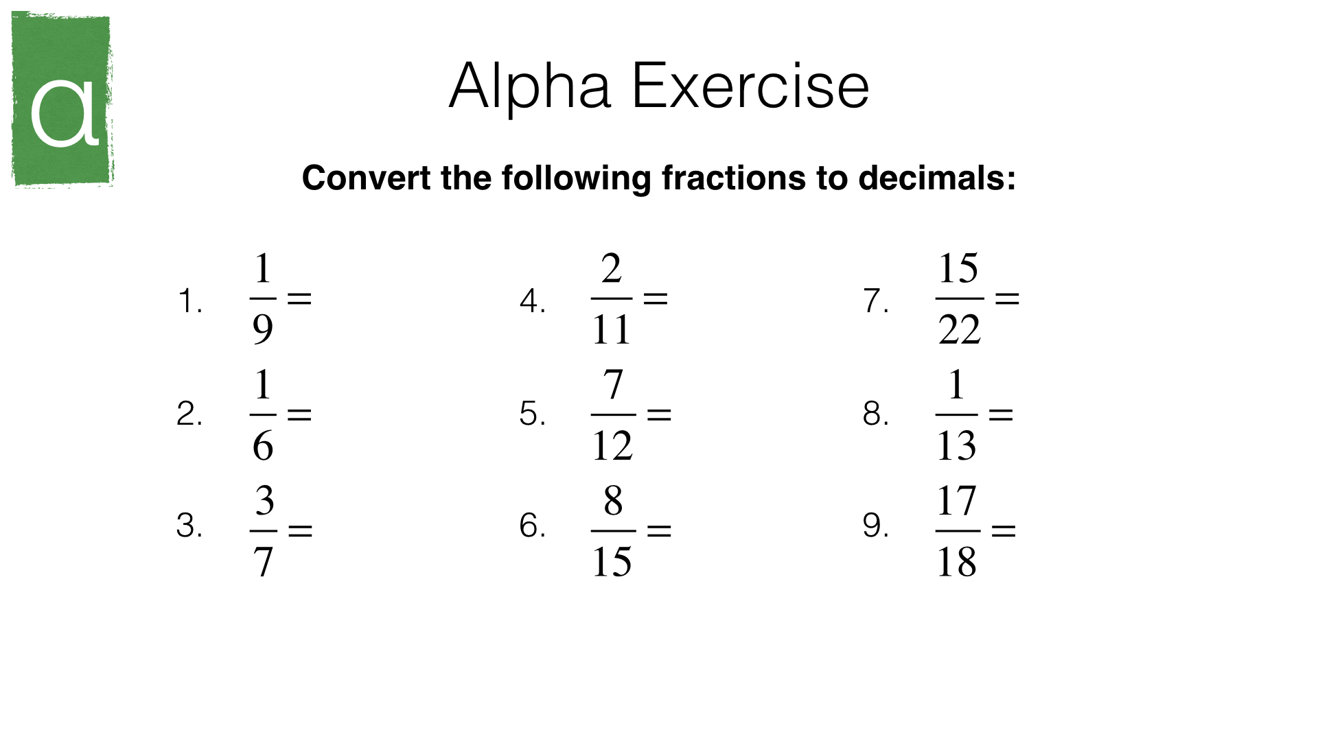 n10b converting recurring decimals into fractions and vice versa. Black Bedroom Furniture Sets. Home Design Ideas