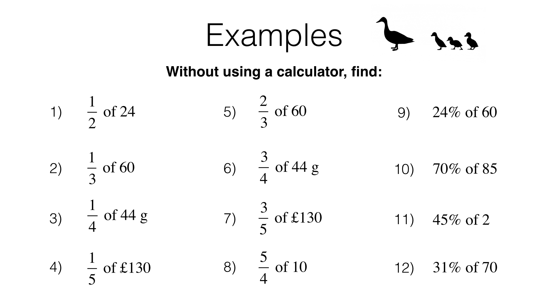 N12a Interpreting Fractions And Percentages As Operators